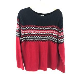 Eddie Bauer loose neck sweater Christmas red